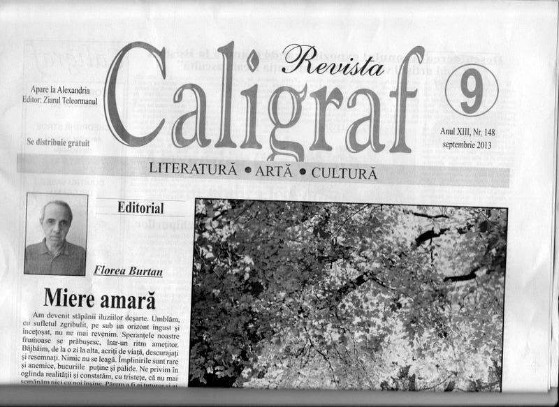 """""""CALIGRAF"""", PRINCIPALA REVISTĂ DE CULTURĂ DIN TELEORMAN"""