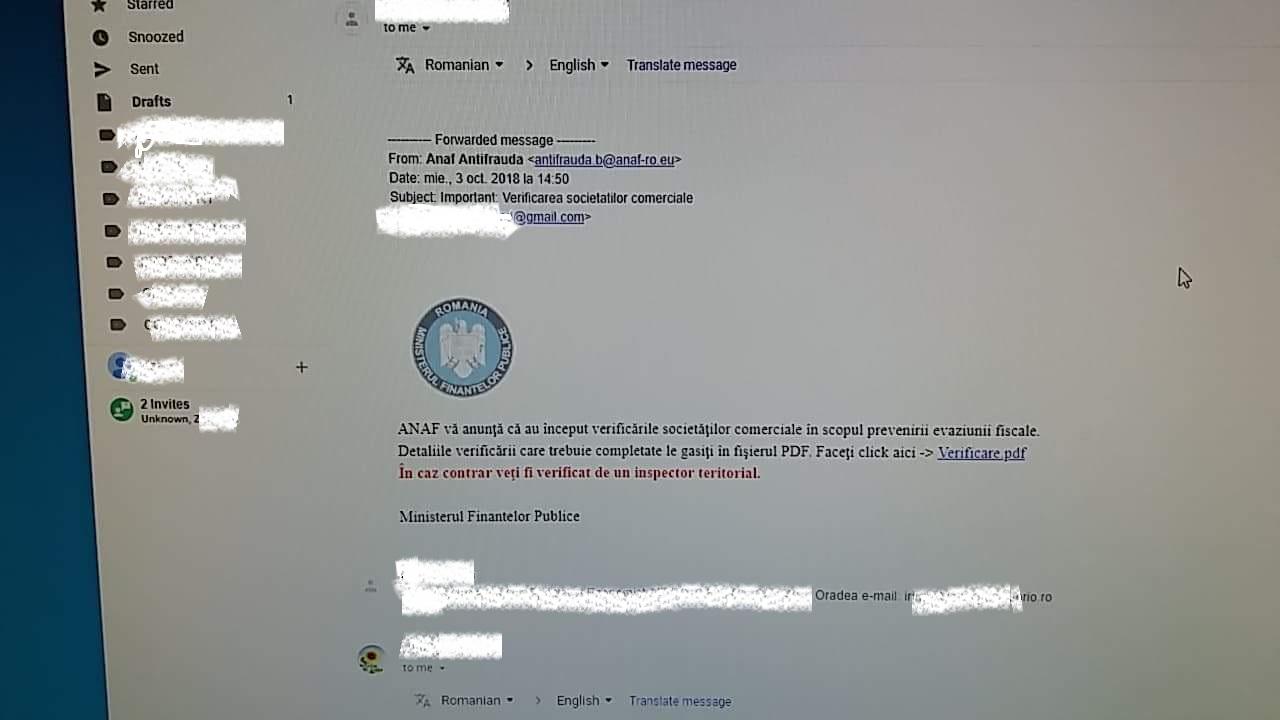 AVERTIZARE! ANAF nu trimite email-uri prin care anunță controale fiscale