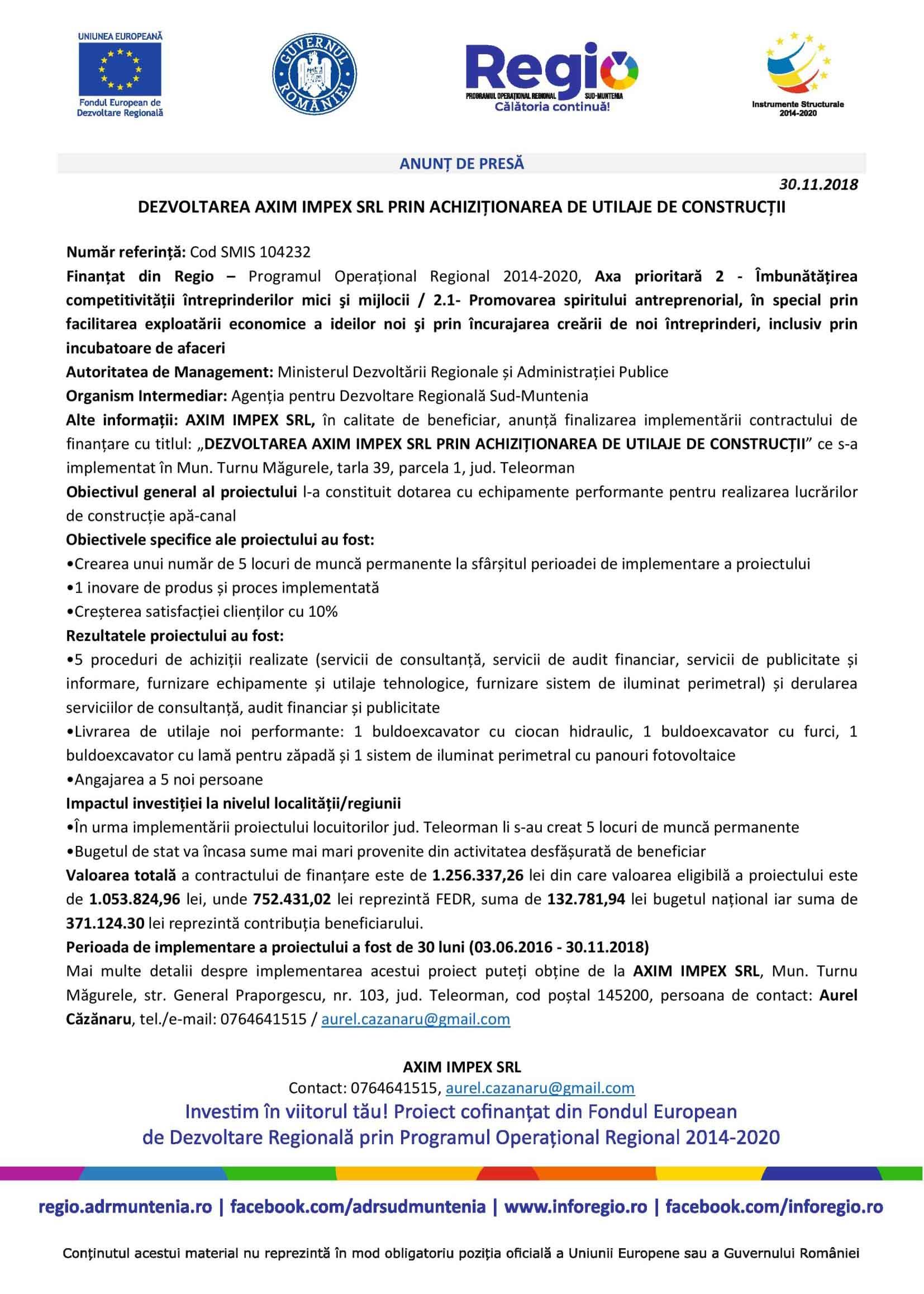 ANUNȚ DE PRESĂ. DEZVOLTAREA AXIM IMPEX SRL PRIN ACHIZIȚIONAREA DE UTILAJE DE CONSTRUCȚII