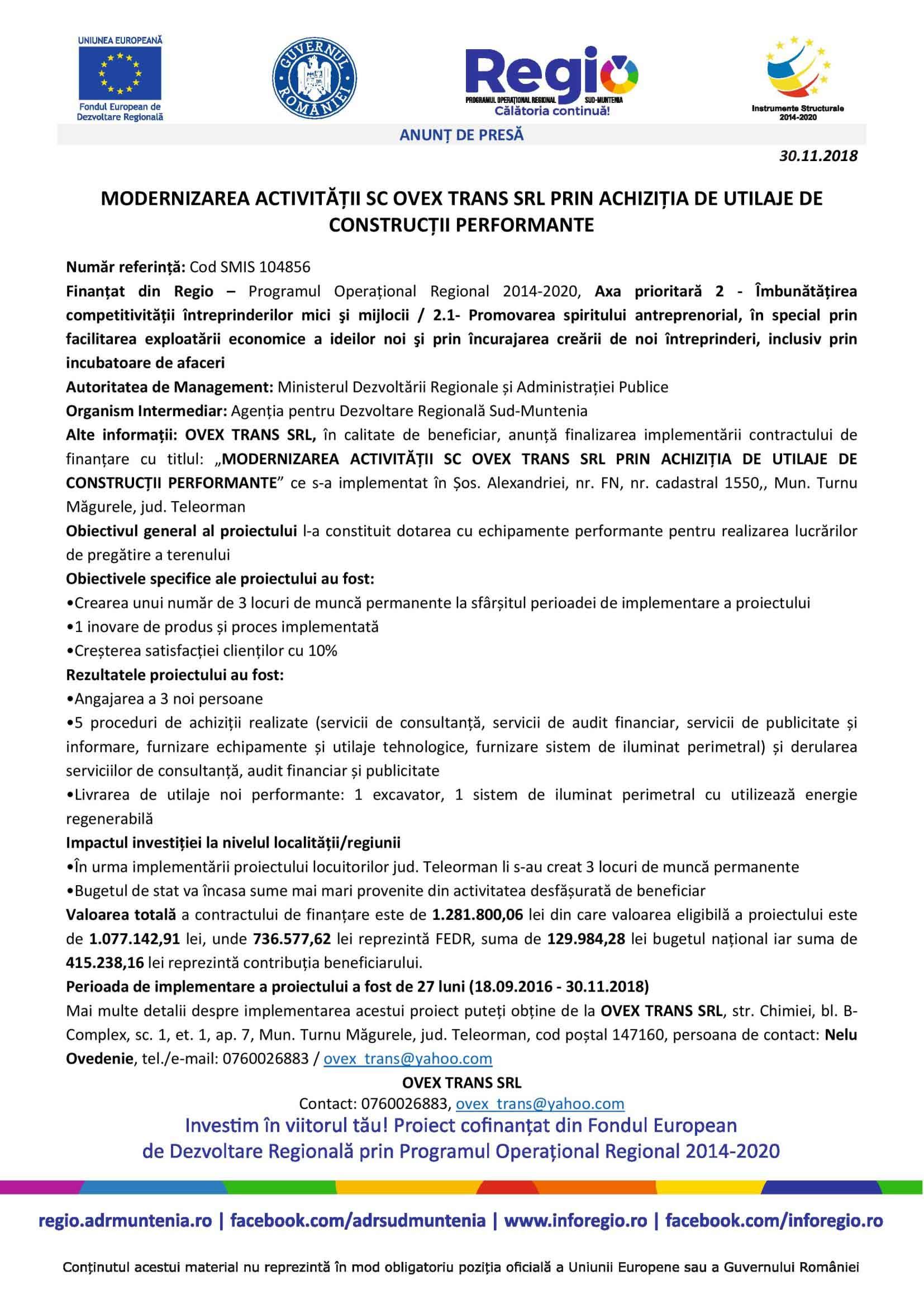 ANUNȚ DE PRESĂ. MODERNIZAREA ACTIVITĂȚII SC OVEX TRANS SRL PRIN ACHIZIȚIA DE UTILAJE DE CONSTRUCȚII PERFORMANTE