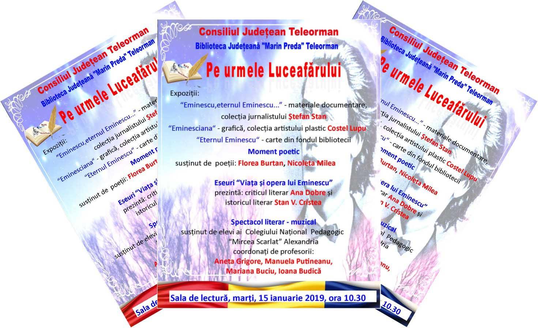 Pe urmele Luceafărului, manifestare dedicată marelui poet Mihai Eminescu