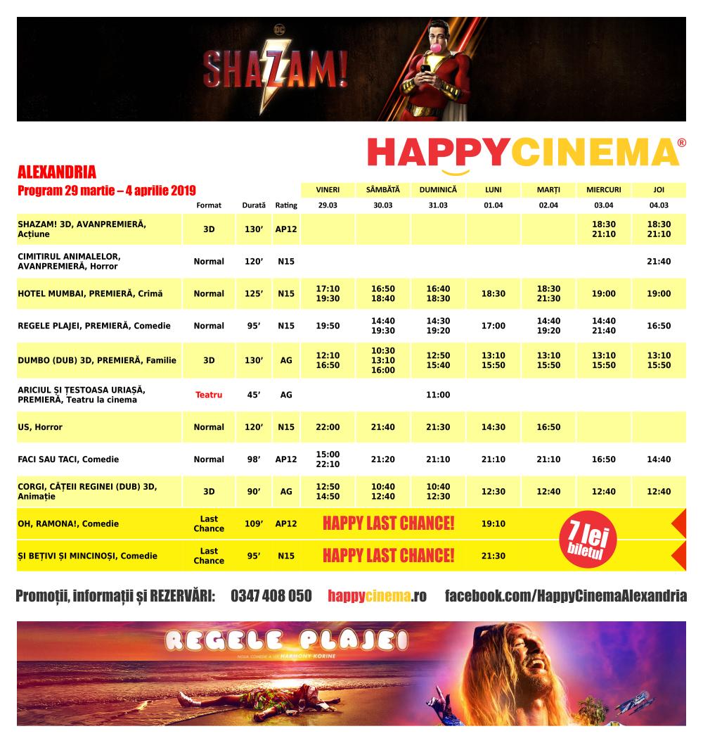 Programul filmelor la Happy Cinema Alexandria în perioada 29 martie – 4 aprilie