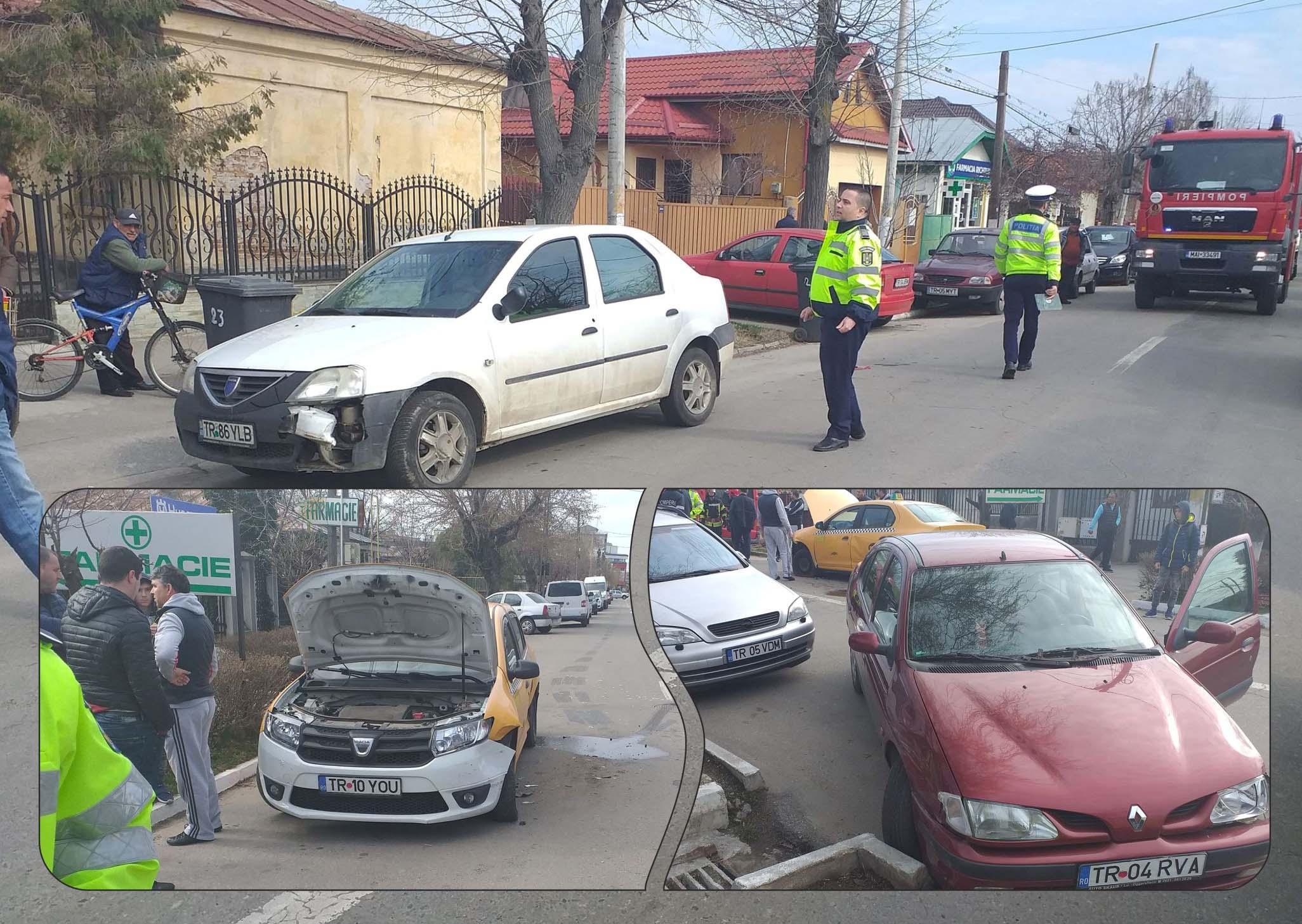 Accident în Alexandria, pe strada Filipescu, între trei autoturisme. O femeie de 75 de ani a fost transportată la Spital