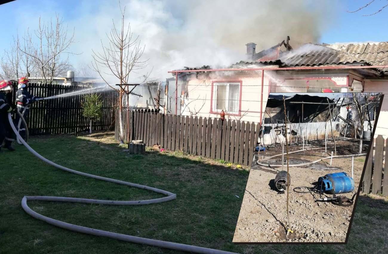 Pericol de explozie la o gospodărie din Socetu. ISU Teleorman a intervenit pentru stingerea incendiului