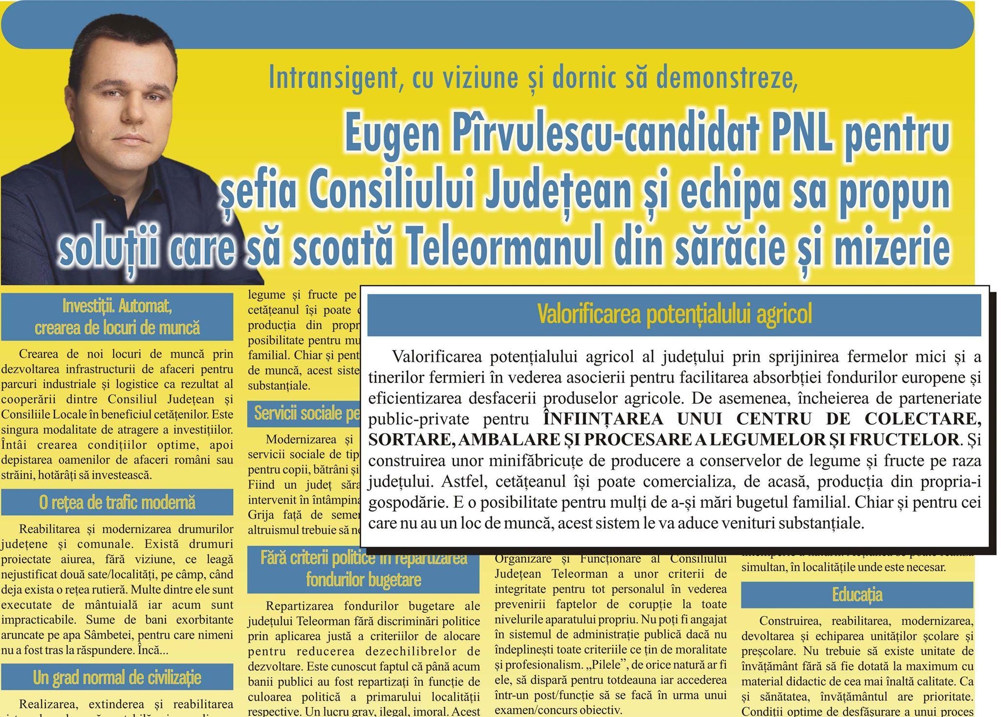 Victor Drăguşin, HOŢ de proiecte! Senatorul Eugen Pîrvulescu îl acuză că i-a furat ideea privind înfiinţarea unui Centru de colectare a legumelor în judeţ