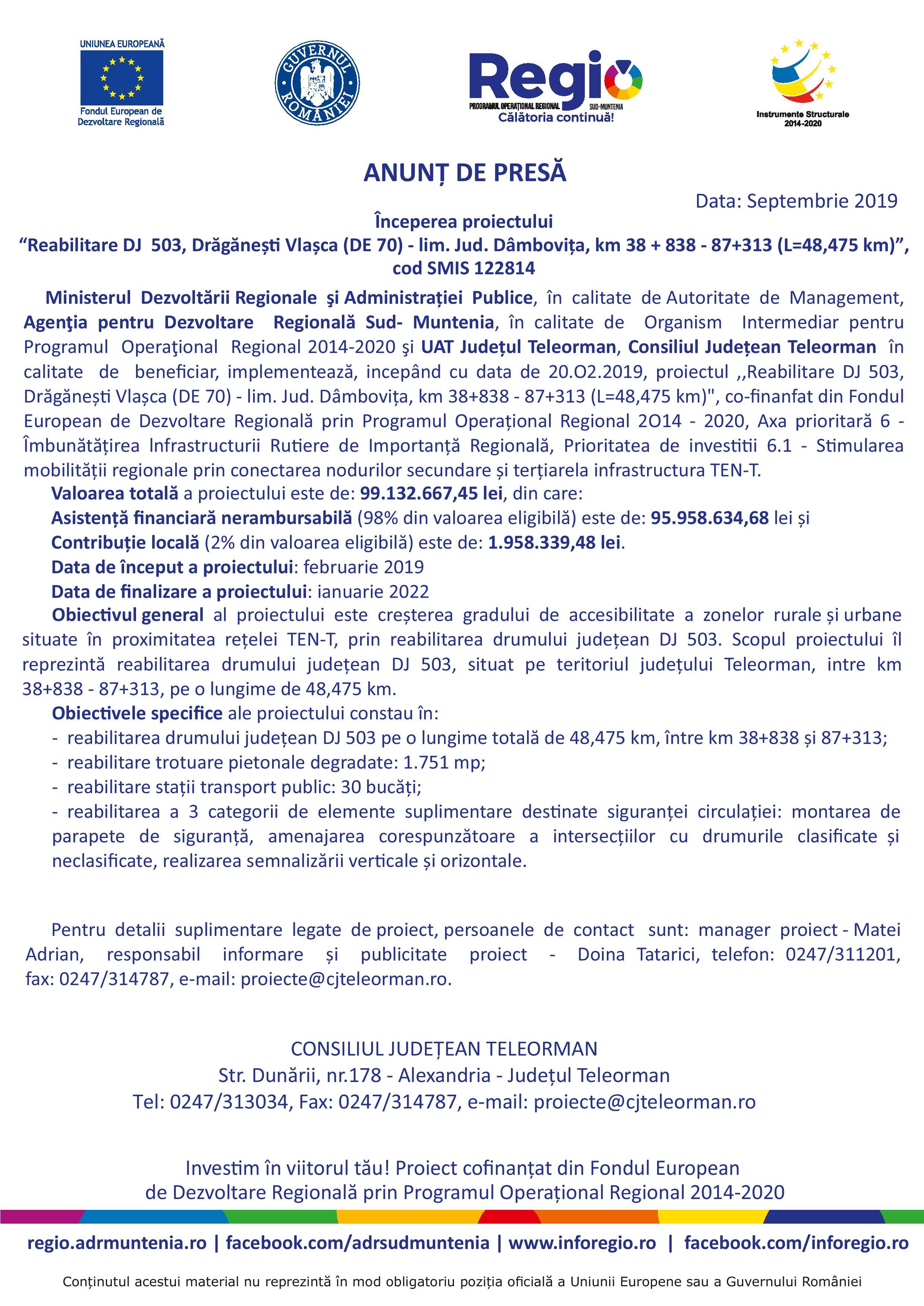"""Anunţ de Presă. Începerea proiectului: """"Reabilitare DJ 503, Drăgănești Vlașca (DE 70) – lim. Jud. Dâmbovița, km 38 + 838 – 87+313 (L=48,475 km)"""""""