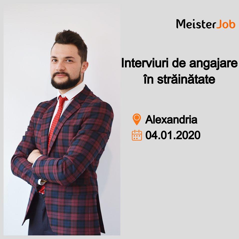 Oportunităţi de angajare în străinătate. MeisterJob organizează interviuri, în Alexandria, sâmbătă, 4 ianuarie 2020