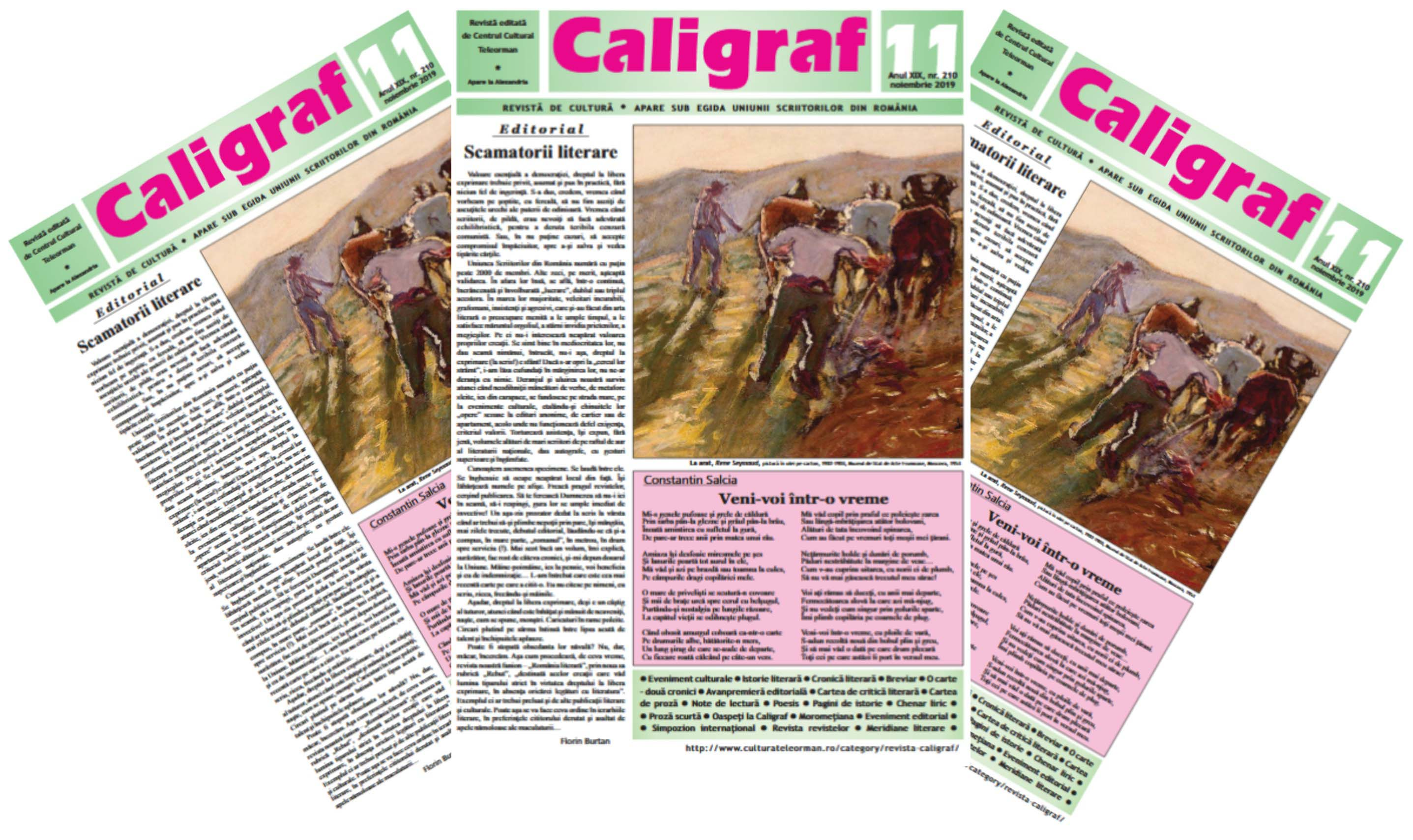 "UN EDITORIAL INCITANT ÎN REVISTA ""CALIGRAF"" NR. 11"